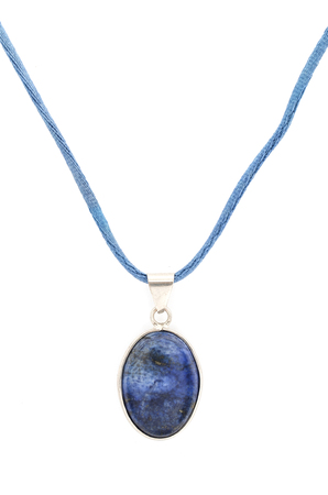 lapis: pendant with lapis lazuli isolated on white Stock Photo