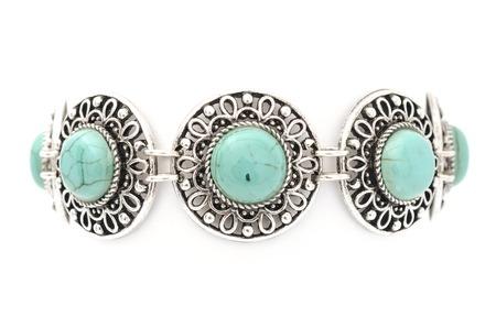 wristlet: Bracelet with blue stones isolated on white