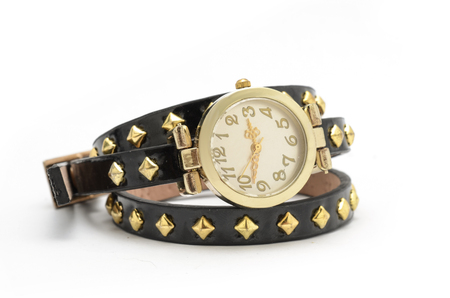 wrist strap: wrist watch with black strap isolated on white