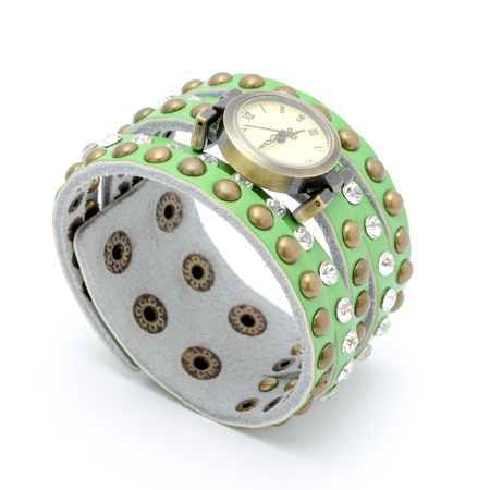 wrist strap: wrist watch with a green strap isolated on white