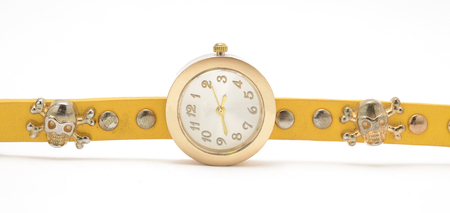 wrist strap: Wrist watch with yellow strap isolated on white