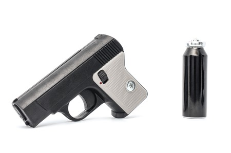 moderate: plastic gun isolated on white