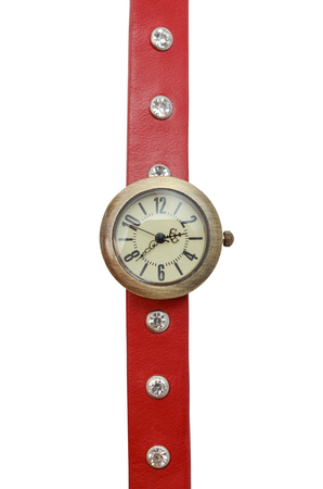wrist strap: Wrist watch with red strap isolated on white