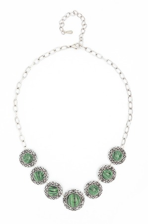 nephritis: necklace with green stones isolated on white