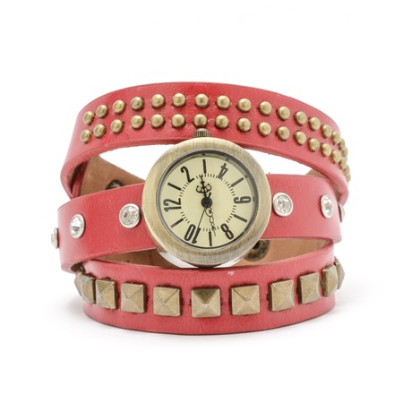 wrist strap: Wrist watch with pink strap isolated on white