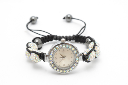 bracelet with clock isolated on white