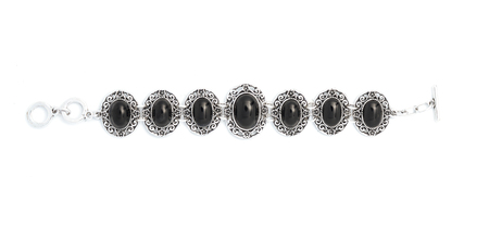 stones isolated: Bracelet with black stones isolated on white