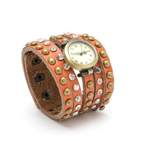 wrist strap: Wrist watch with orange  strap isolated on white