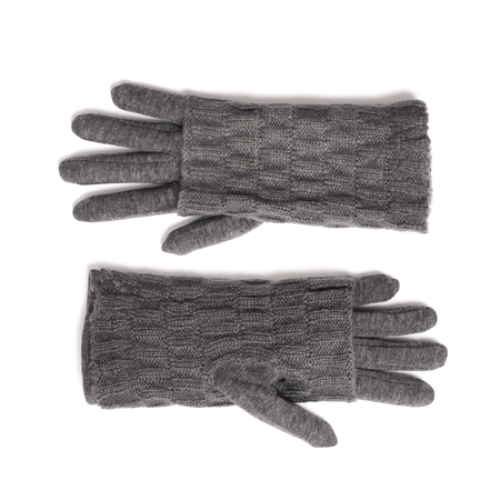 fingerless gloves: grey gloves with mitts isolated on white Stock Photo