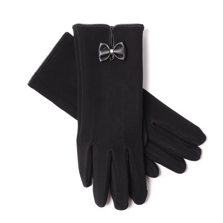 finger bow: womens black gloves isolated on white Stock Photo