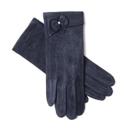 finger bow: womens blue gloves isolated on white