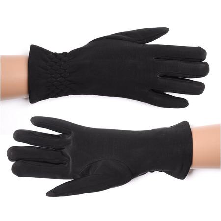 black gloves: womens black gloves isolated on white Stock Photo
