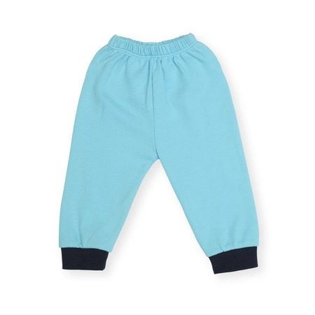 children's wear: blue childrens sports pants isolated on white