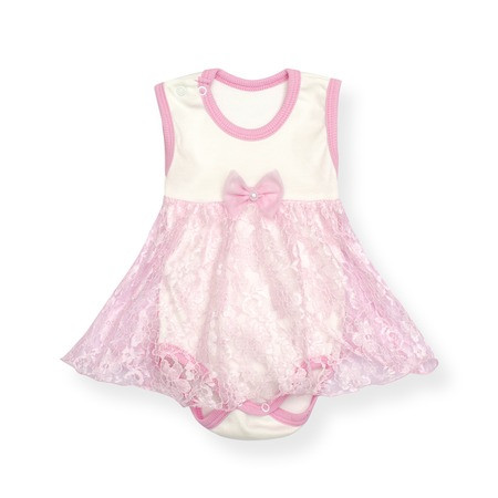 baby bodysuit with skirt isolated on white