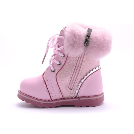 Winter pink boot isolated on white Stock Photo