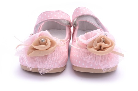 pink shoes: baby pink shoes isolated on white Stock Photo