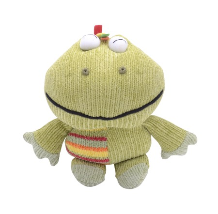 soft toy frog isolated on white