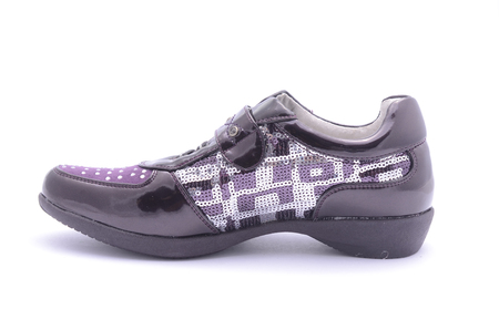 varnished: purple Sneakers isolated on white Stock Photo