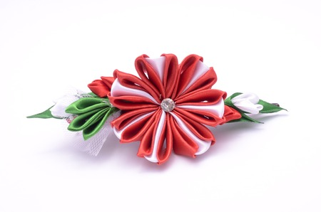 bobby: brooch from silk fabric isolated on white Stock Photo