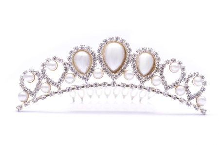 diadem: diadem with pearls isolated on white Stock Photo
