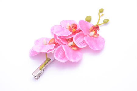 embellishment: barrette with pink flowers isolated on white
