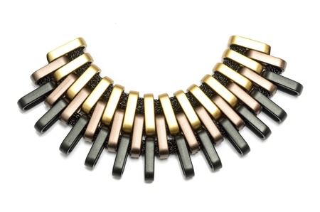 gold metal: unusual metal gold  necklace isolated
