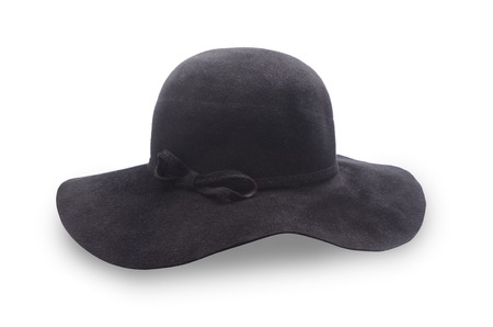 brim: black hat with a wide brim isolated on white