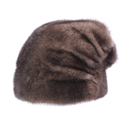 visone: womens fur hat isolated on white Archivio Fotografico