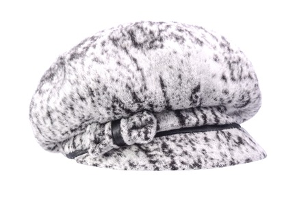 newsboy cap: Womens fur hat with a visor is isolated on white