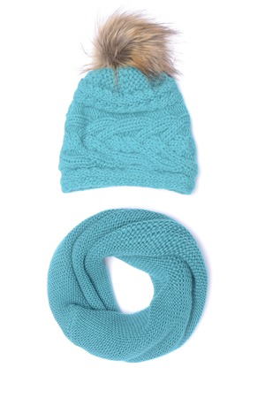 blue bubo hat and scarf isolated on white Stock Photo