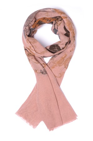 robo: pink scarf isolated on white Foto de archivo