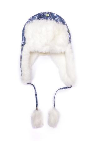 klapki na uszy dziecko kapelusz na białym tle
