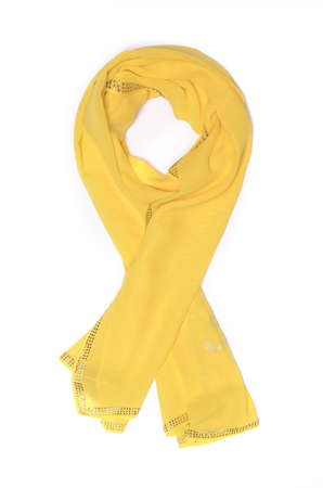 scarves: yellow Shawl-scarf isolated on white Archivio Fotografico