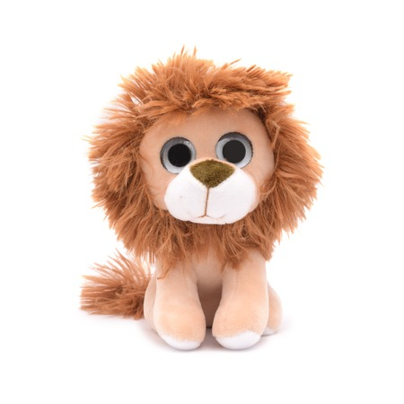 soft toy lion isolated on white