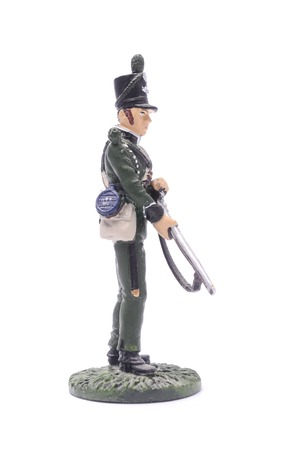 tin soldier  squaddie 95 th Infantry Regiment of the British Army, 1812. Isolated on white