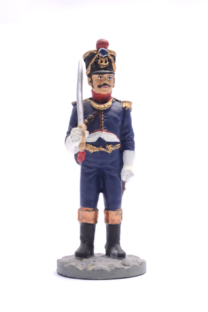 antique rifle: tin soldier Officer Grenadier Company Line Infantry Regiment, 1810 Isolated on white