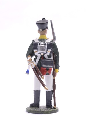garrison: tin soldier squaddie of the Moscow garrison regiment, 1812Isolated on white