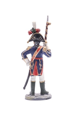 antique rifle: tin soldier Drum-major of the regiment infantry chasseurs of the Old Guard, 1808-1810 Isolated on white