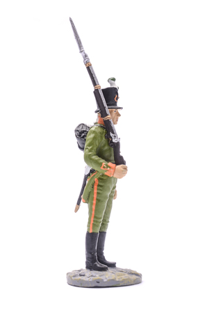 tin soldier Soldier of the 6th Chasseurs, 1805-1808 Isolated on white Stock Photo