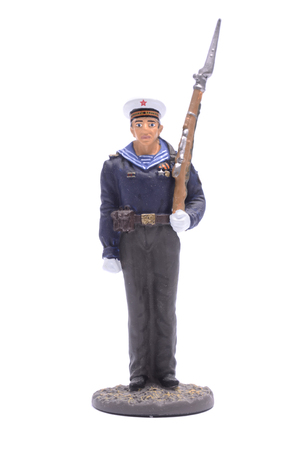 vintage military rifle: Tin Soldier Sailor, Navy 1943-45 USSR isolated on white Stock Photo