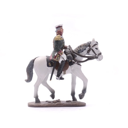 tin soldier Alexander on horseback isolated on white Stock Photo