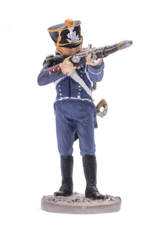 tin soldier Shooter French light infantry, 1813 Isolated on white Stock Photo