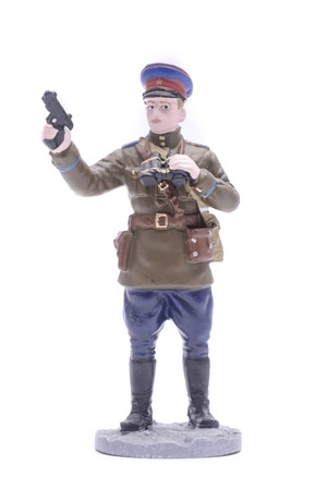 the ussr: Tin Soldier Lieutenant infantry USSR 1940-43 isolated on white Stock Photo