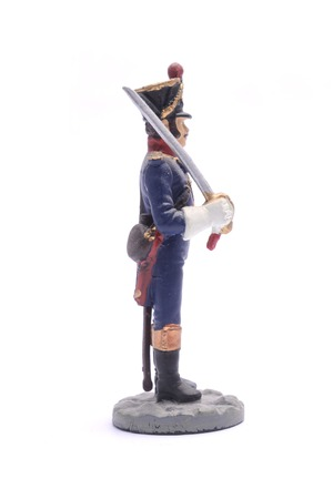 tin soldier Officer Grenadier Company Line Infantry Regiment, 1810 Isolated on white