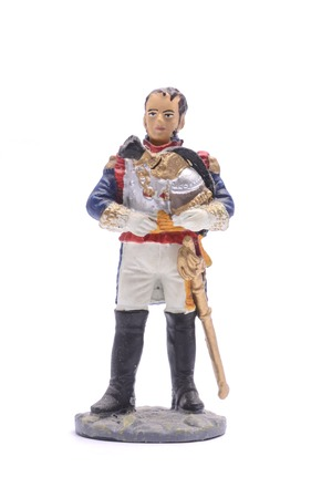 tin soldier  General Laurent Saint-Cyr in the form of cuirassier regiment, 1812 Isolated on white