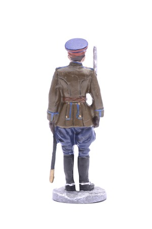 figurine: Tin Soldier  captain of the NKVD border troops 1945 isolated on white