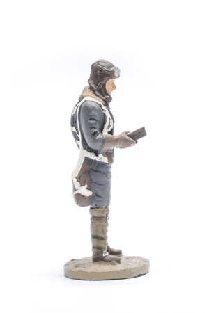 Tin Soldier Lieutenant in flight form , Air Force, 1936-43 isolated on white Stock Photo