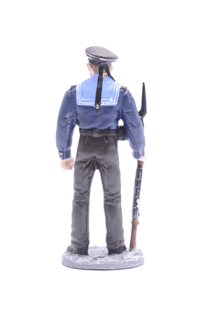 figurine: Tin Soldier Sailor, Navy 1943-45 USSR isolated on white Stock Photo