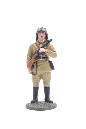 the ussr: Tin Soldier tankman USSR isolated on white