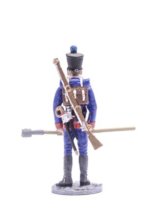 tin soldier Gunner Army foot artillery, 1813 Isolated on white